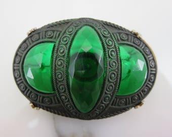 Green Czech Glass Brooch - Vintage Art Deco Costume Jewelry