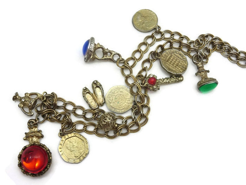 Costume Jewelry - Charm Necklace, Lucite Gem Cabochons, Coins