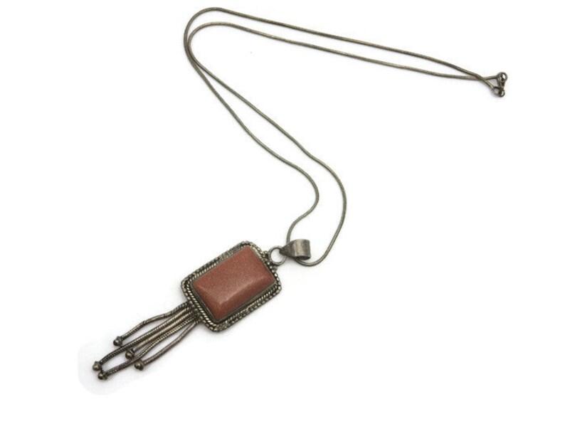 Sterling Silver Fringe Necklace Goldstone Necklace