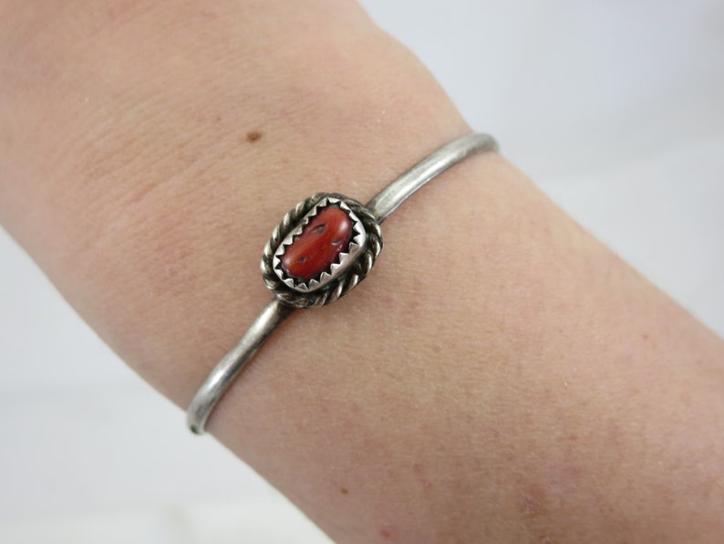 Petite Sterling Silver Cuff Navajo Coral Bracelet Artist Signed Native American Jewelry Adjustable Child Size