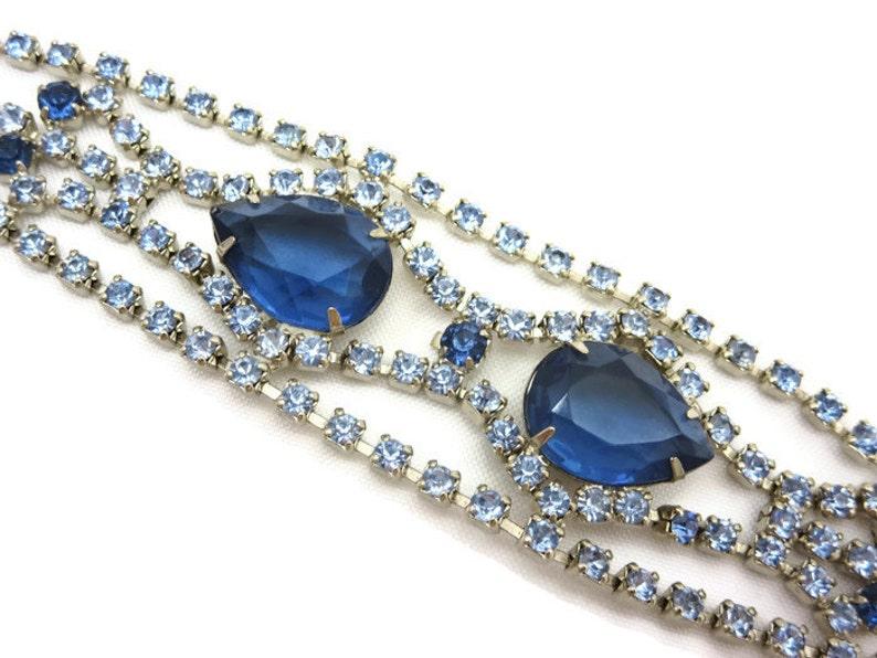 Blue Rhinestone Bracelet Tennis Bracelet Two Tone Costume Jewelry
