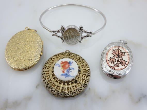 Lockets - Pendants and Bracelet Lot, Gold Silver … - image 5