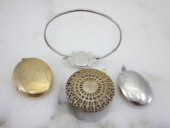 Lockets - Pendants and Bracelet Lot, Gold Silver … - image 7