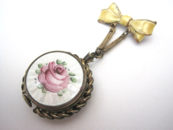 Vintage Guilloche Watch Brooch - 10kt Rolled Gold