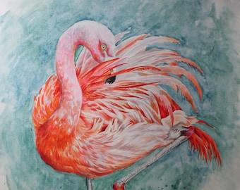 Flamingo - Original Watercolour Painting