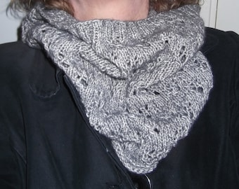 Grey Knitted Lace Cowl
