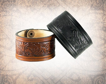 The Woodland Leather Cuff, Leather Wristband, Black Cuff, Leather Bracelet, Brown Leather Cuff, Leather Band - Custom to You (1 cuff only)