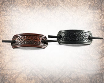 Large Leather Barrette Barrette, Hair Clip, Leather Barrette, Celtic Barrette, Hair Slide - Celtic - Custom to You (1 Barrette only)