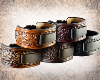 Handmade Leather Watch Cuff - Western Floral - Solid Full Grain Italian Leather Watch Band, Watch Strap, Tooled, Embossed, Cowboy