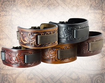 Handmade Leather Watch Cuff - Horse & Floral - Solid Full Grain Italian Leather Watch Band Watch Strap Tooled Embossed Western Cowboy