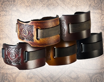 Handmade Leather Watch Cuff - Wide Celtic Triskel - Solid Full Grain Italian Leather, Watch Band, Watch Strap, Celtic Knot, Norse