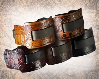 Handmade Leather Watch Cuff - Wide Circuit - Solid Full Grain Italian Leather, Watch Band, Watch Strap, Tooled, Embossed, Steampunk