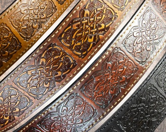 Leather Guitar Strap - Celtic Hounds - Solid Full-Grain Italian Leather Guitar Strap Sling Band Scottish Irish Knotwork Celtic Knot