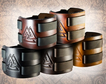 Handmade Leather Cuff - Valknut - Handcrafted Solid Full Grain Italian Leather Norse Viking Odin's Knot Tooled Embossed Black Brown