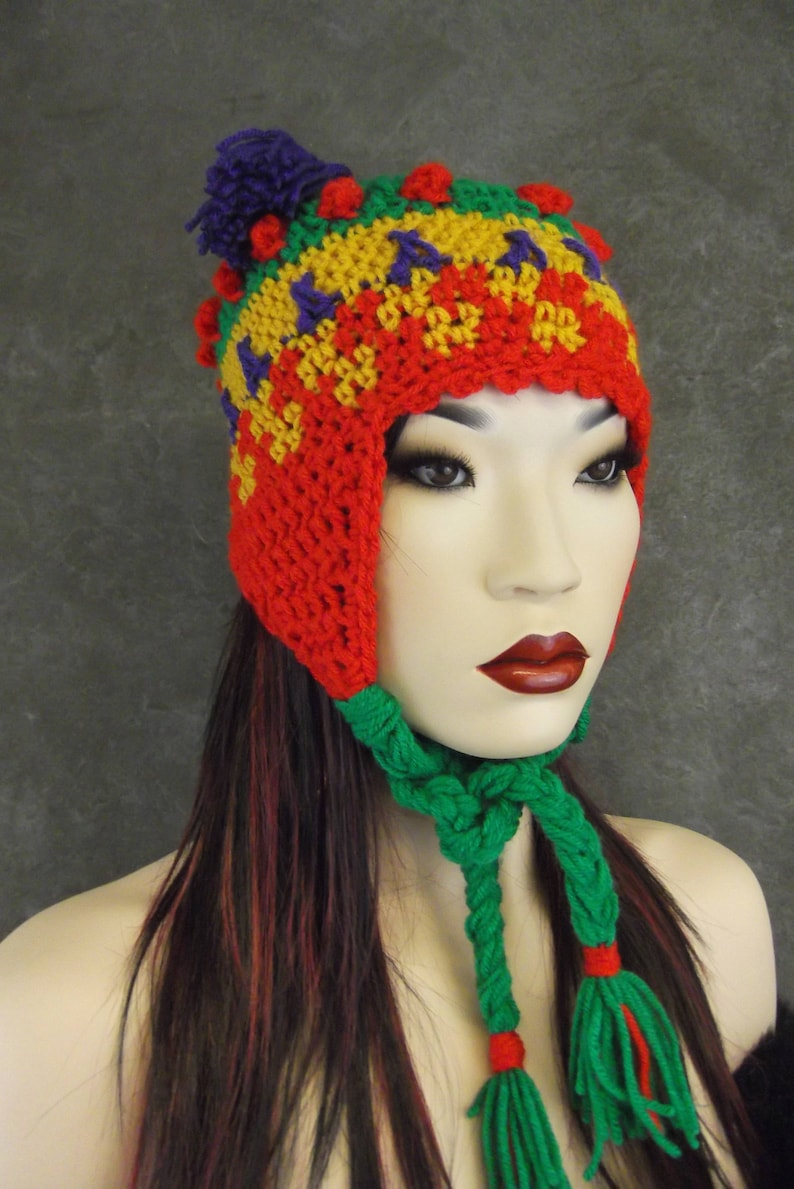 53b62f8296d3b6 Chullo style Earflap Hat Crochet FreeformWinter | Etsy