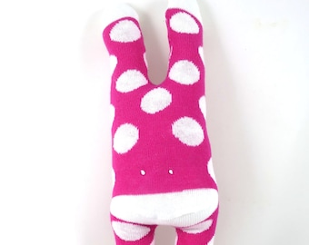 NEW* Cuddle Monster DEE DEE - pink and white, polka dots, spots, handmade plush sock toy softie.