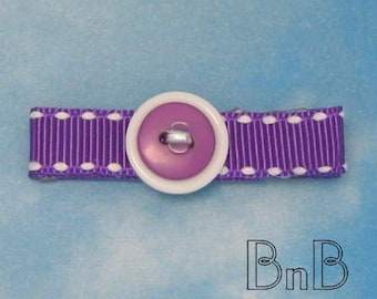 Purple with White Beaded and Buttoned Hair Clip Clippie