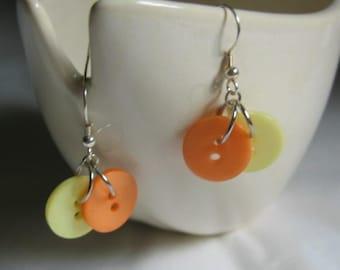 Orange and Lemon Button Earrings Summer Fresh