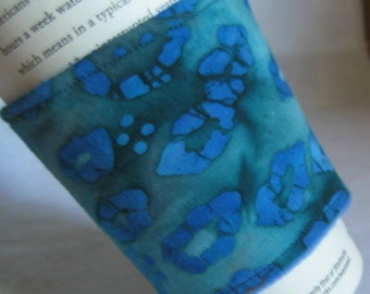 Coffee Cup Sleeve Cozy French Blue and Teal Batik