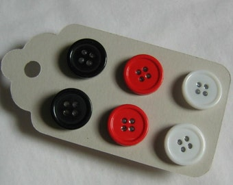 All Buttoned Up - Trio of Button Earrings Black and White and Red All Over