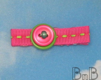 Hot Pink and Lime Green Beaded and Buttoned Hair Clip
