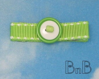 Lime Green Beaded and Buttoned Hair Clip Clippie