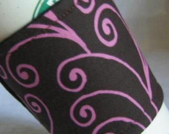Coffee Cup Sleeve Cozy Pink Swirls on Dark Chocolate