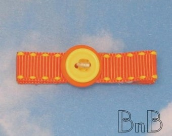 Orange and Yellow Beaded and Buttoned Hair Clip Clippie