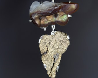 """Fire Agate, Bronze, Silver Pendant: """"African Expedition"""""""