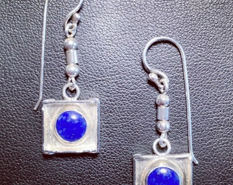 """Lapis Lazuli, Sterling Silver Earrings. """"The Circle Takes the Square"""""""