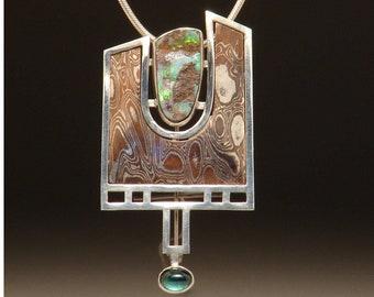 MORNING FOG, Opal, Tourmaline, Mixed Metals, Silver/Copper Pendant/Brooch.