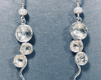 Sterling Silver and Pearl Handcrafted Earrings