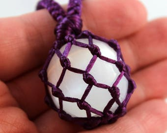 Dark Purple Satin Cord Wrapped Selenite Crystal Ball Tumble Healing Necklace - 7 Pointed Star