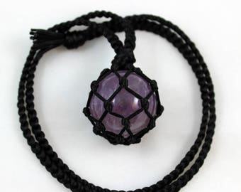 Amethyst Crystal Ball Black Satin Cord Wrapped Healing Necklace - 6 Pointed Star
