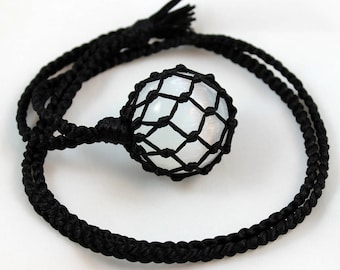 Selenite Crystal Ball Black Satin Cord Wrapped Healing Necklace - 9 Pointed Star