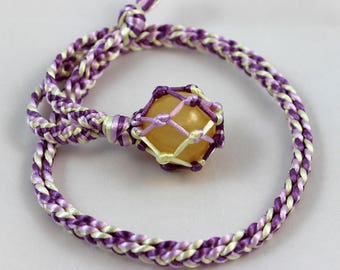 Yellow Calcite Crystal Ball Satin Cord Wrapped Healing Necklace - 6 Pointed Star