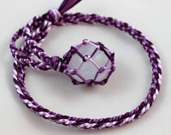 Selenite Tumble Purple Satin Cord Wrapped Healing Necklace - 6 Pointed Star