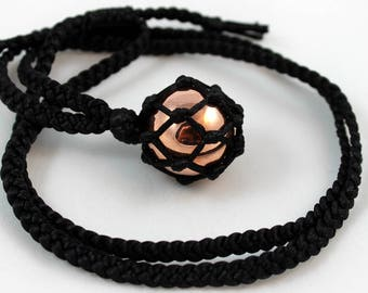 Black Satin Cord Wrapped Copper Sphere Necklace - 6 Pointed Star
