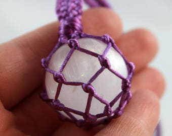 Purple Satin Cord Wrapped Selenite Crystal Ball Healing Necklace - 6 Pointed Star