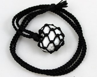 White Howlite Heart Black Satin Cord Wrapped Healing Necklace