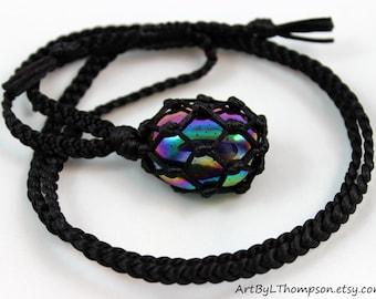 Black Satin Cord Wrapped Titanium Rainbow Aura Quartz Healing Necklace - 6 Pointed Star