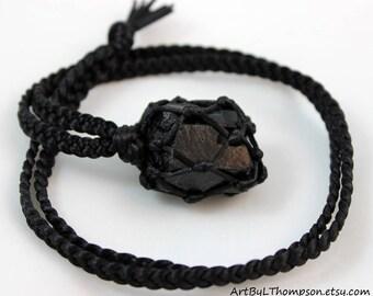 Black Tourmaline Black Satin Cord Wrapped Healing Necklace