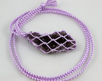 Amethyst Light Purple/Lavender Satin Cord Wrapped Healing Necklace