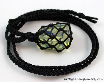 Black Satin Cord Wrapped Yellow Obsidian Healing Necklace - 6 Pointed Star