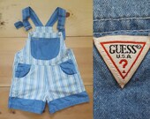 Vintage Guess Overalls Vtg Made in the USA Distressed Striped Denim Kids Shortalls child size 5
