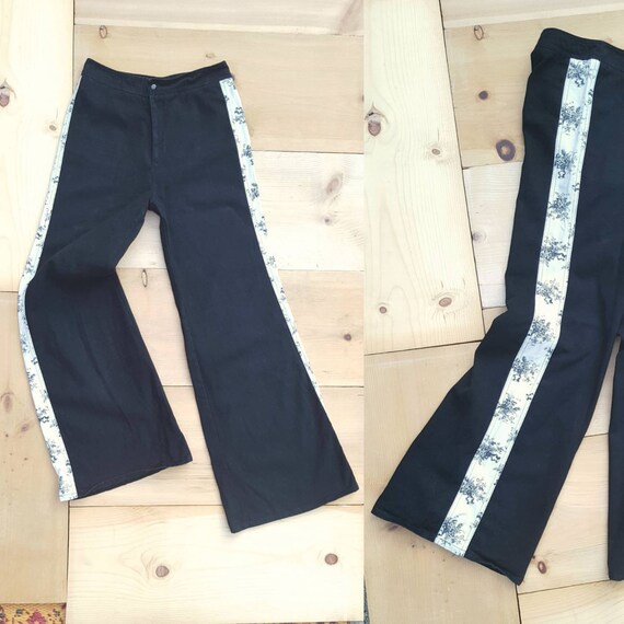 Vintage RONCELLI Pants //  Vtg 1970s Black + White