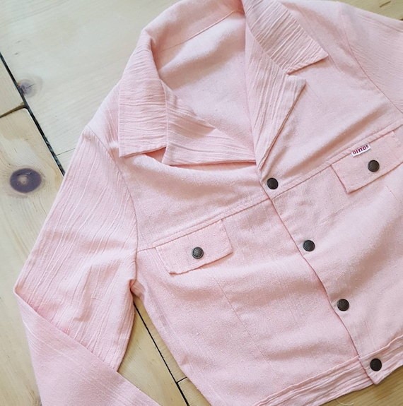 Vintage DITTO'S Jacket  //  Vtg 70s Peach Cropped