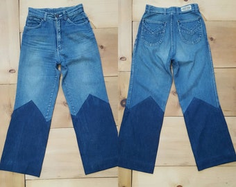 """Vintage 70s Jeans w/ Custom Altered Leg  // Super Soft Faded Two Tone Flares //  27"""" waist"""