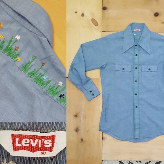 Vintage Levi's Chambray Shirt // Vtg 70s Levis Cha
