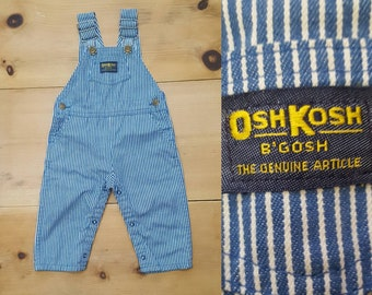 Vintage OshKosh Baby Overalls  // Made in the USA Distressed Hickory Stripe Denim Bibs  // infant child size 24 mos